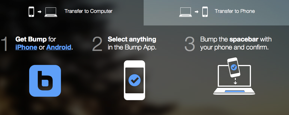 bump app now bump to computer