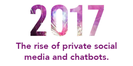 2017: The rise of private social media and chatbots.