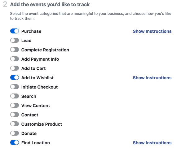 Facebook pixel parameter options