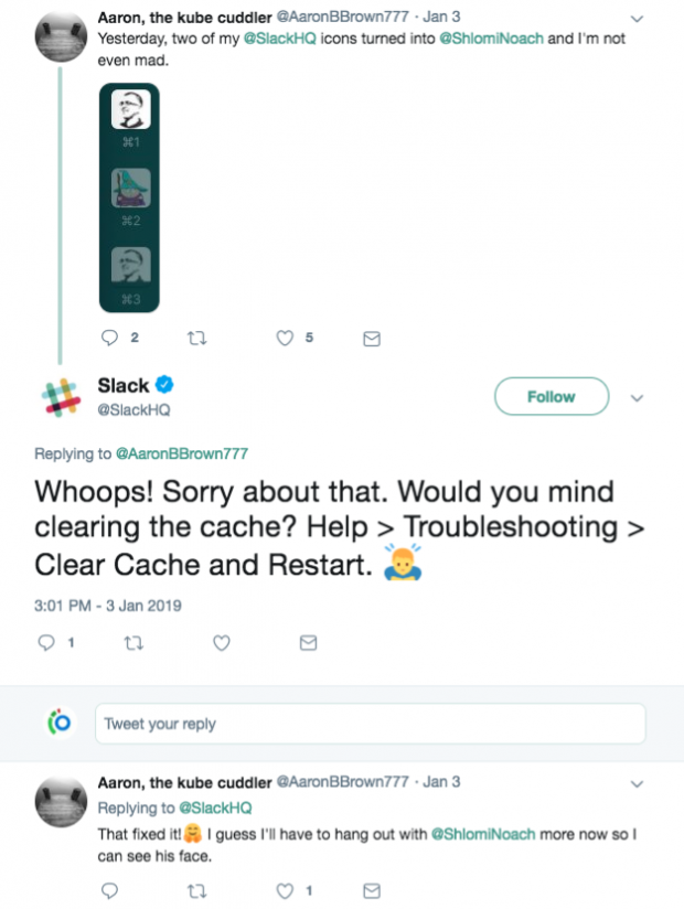 Slack responds to customer on Twitter