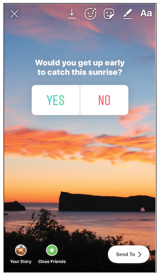 Instagram poll about the sunrise
