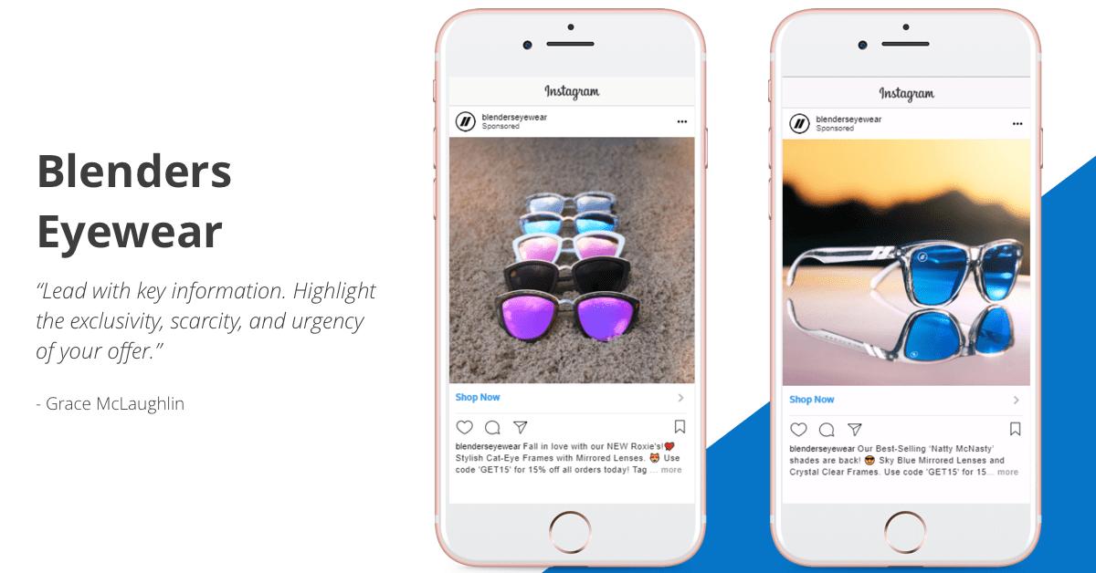 Blenders Eyewear - Instagram for Business Example