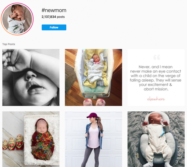 #newmom hashtag search result on Instagram