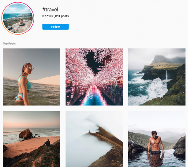 """Instagram hashtag search page for """"travel"""" hashtag"""