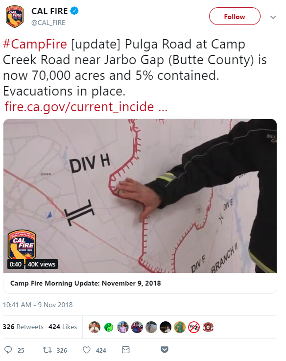 Cal Fire tweet about Camp fire