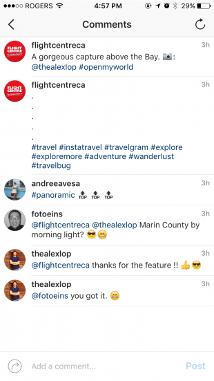 Flight Centre.ca hides their Instagram hashtags under line breaks and within the comment section.
