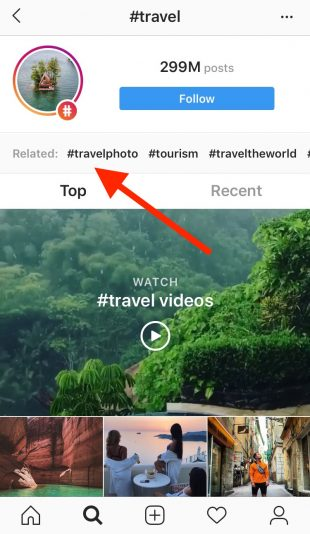 #Travel Instagram hashtag page showing related hashtags include #travelphoto and #tourism