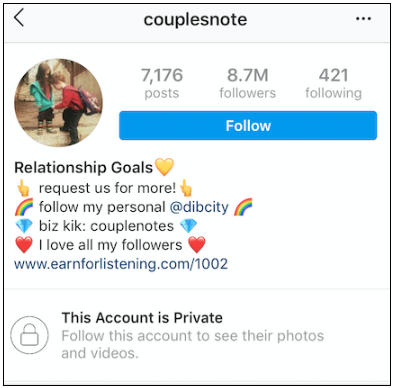 couples note instagram profile