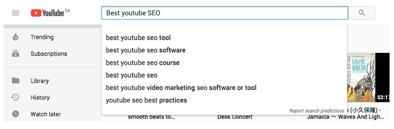"search suggestions for ""best youtube SEO"""