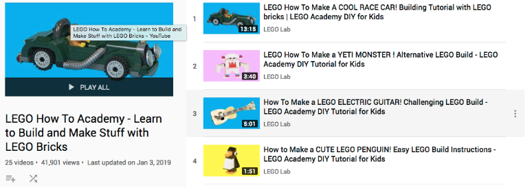 Lego's YouTube playlist