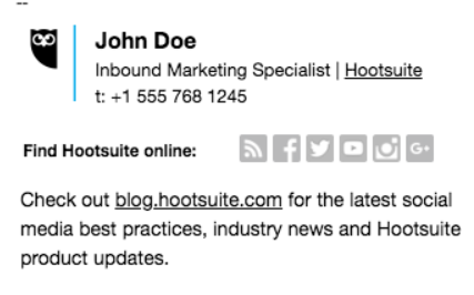 Email signature for Hootsuite employee that uses social media icons instead of URLs