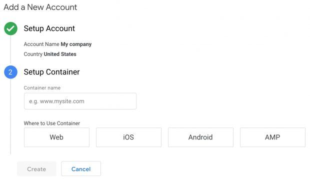 Adding a new account to Google Analytics window
