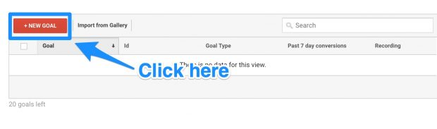 New Goal button in Google Analytics set up