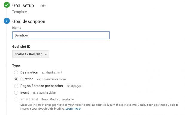 Goal description field in Google Analytics set up
