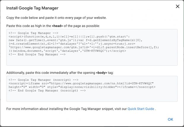 Instal Google Tag Manager page