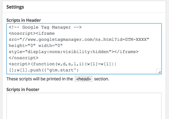 installing the 'Insert Headers and Footers' plugin on WordPress