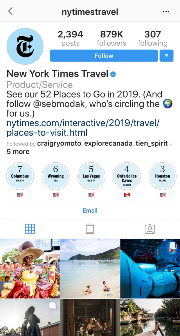 New York Times Travel Instagram Story Highlight icons