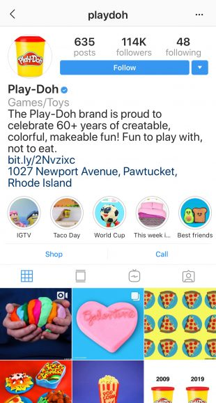 Instagram Highlight covers on Play-Doh's profile