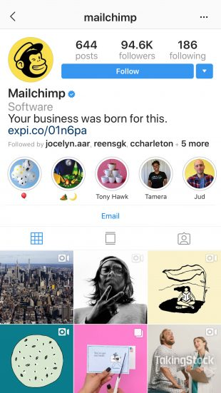 MailChimp Instagram profile with Highlight covers