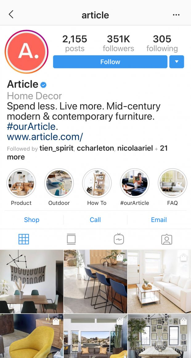 Furniture brand Article's Instagram profile with Highlight covers