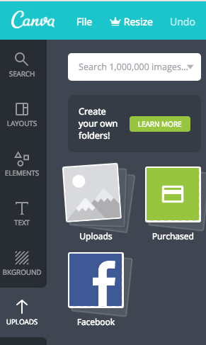 Option to upload your own images on Canva