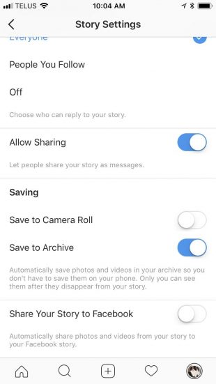Option to save Instagram Story to Archive