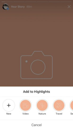 Option to choose which Highlight you want to add your Instagram Story to