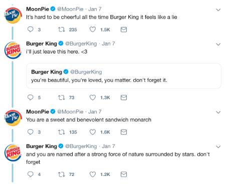 Tweets between Burger King and Moonpies