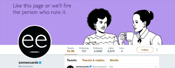 """Somecards Twitter background photo: """"Like this page or we'll fire the person who runs it"""""""