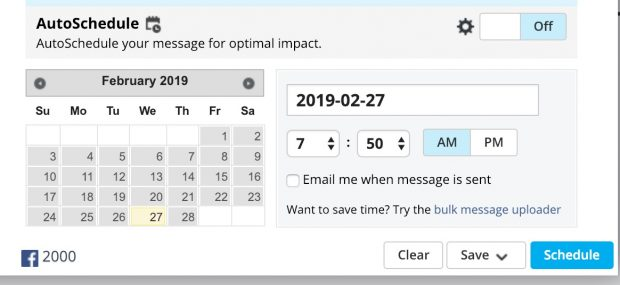 Hootsuite window to select date and time of scheduled post