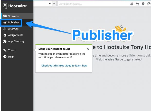 Publisher icon on Hootsuite