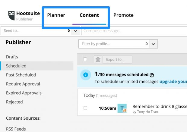 Planner and Content tabs on Hootsuite