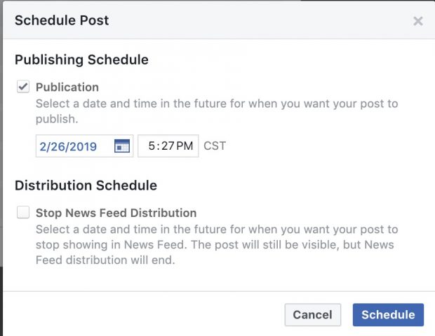 Option to select date and time to schedule post on Facebook