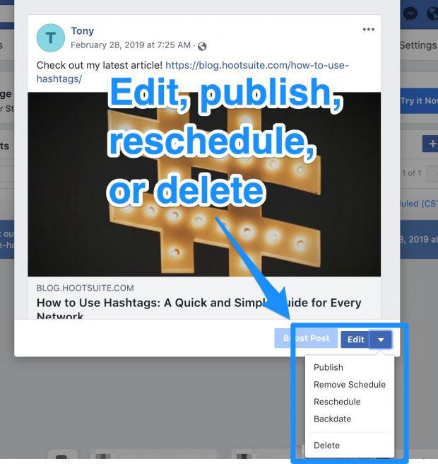 Option to edit, publish, schedule, or delete Facebook post