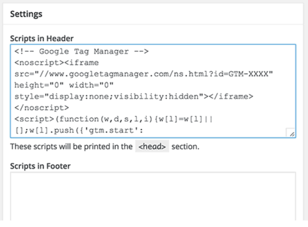 code snippet pasted in Insert Headers and Footers plugin for WordPress