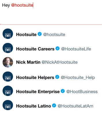 Twitter window with multiple @Hootsuite handles