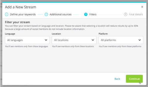 setting up social media sentiment in Hootsuite