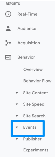 Google Analytics menu