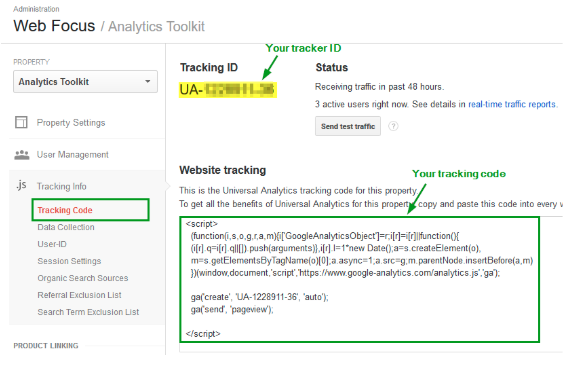tracking ID Google Analytics