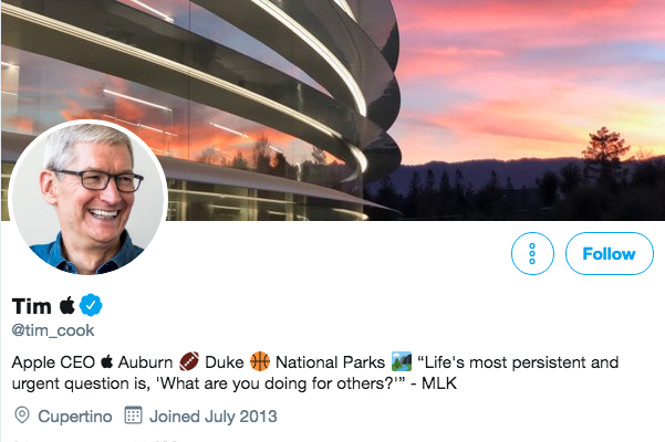 Twitter bio for Tim Cook