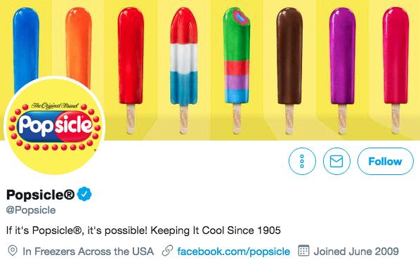 Twitter bio for Popsicle