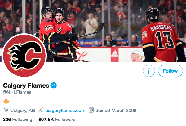 Twitter bio for Calgary Flames
