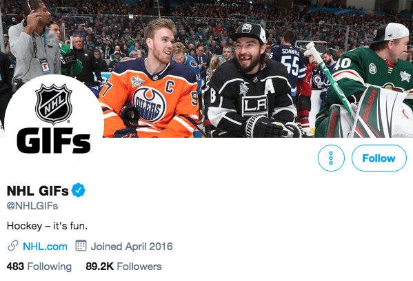 Twitter bio for NHL GIFs