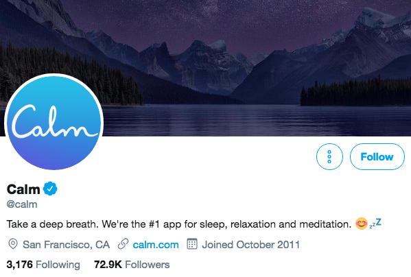 Twitter bio for Calm