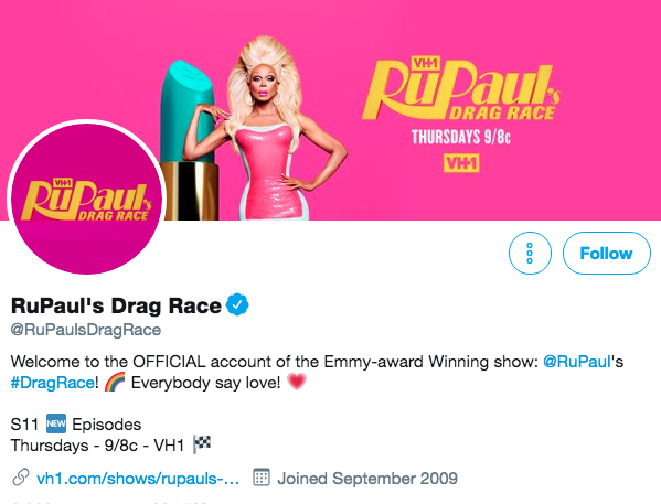 Twitter bio for RuPaul's Drag Race