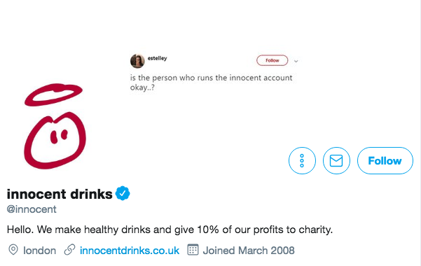 Twitter bio for Innocent Drinks