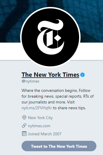 New York Times short link in Twitter bio