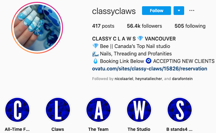 Classy Claws' Instagram highlight icons