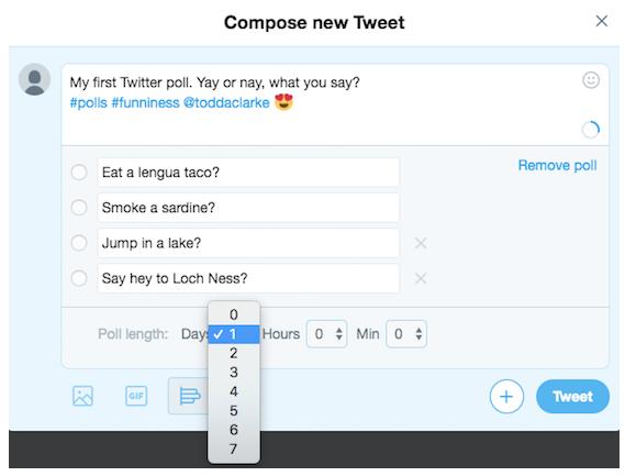 Setting length of Twitter poll