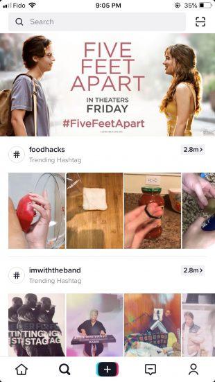 five feet apart ad on tiktok